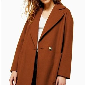 Topshop Carly long soft & slouchy brown coat